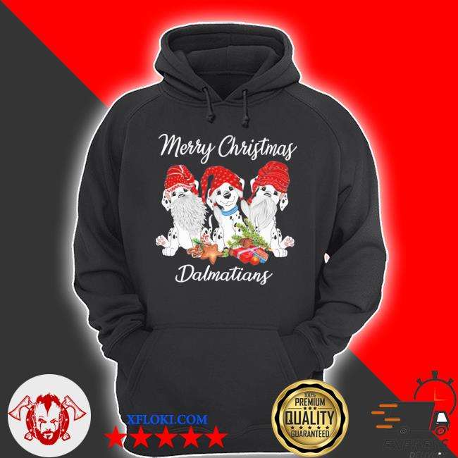 Tree dog gnome merry christmas dalmatians ugly sweater hoodie