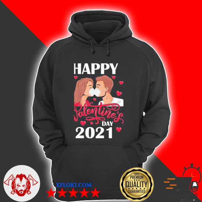 Couple kissing with mask on happy valentine's day 2021 s hoodie
