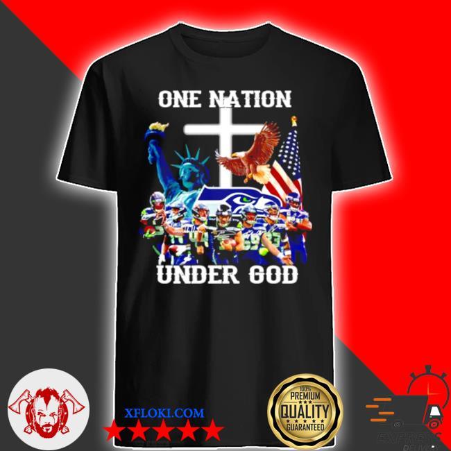 One nation under god seattle seahawks signatures shirt