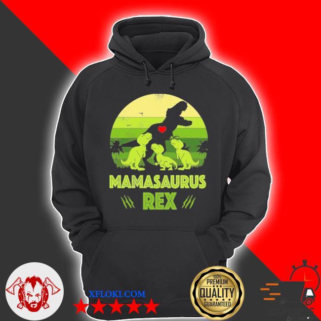 Vintage retro 3 kids mamasaurus dinosaur vintage s hoodie