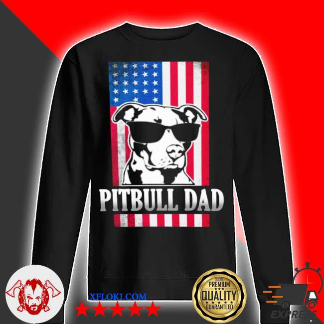 Funny pitbull dad American flag s sweater