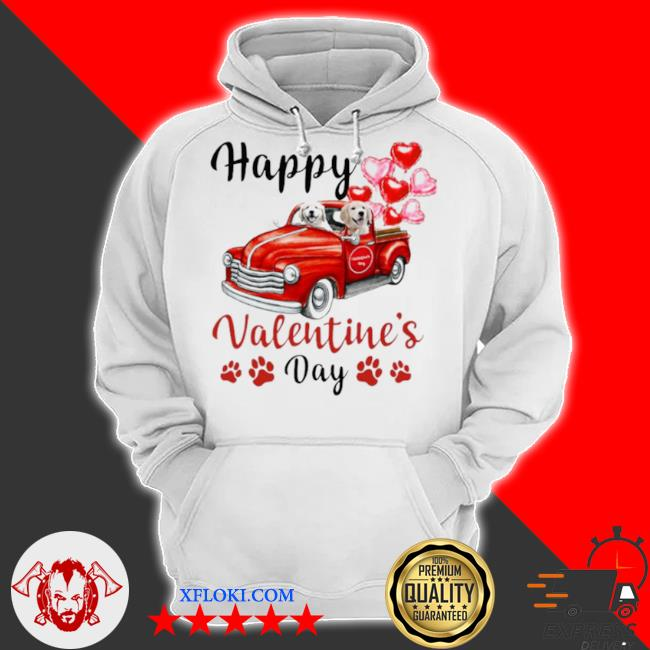 Golden retriever puppy truck drive happy valentine's 2021 s hoodie