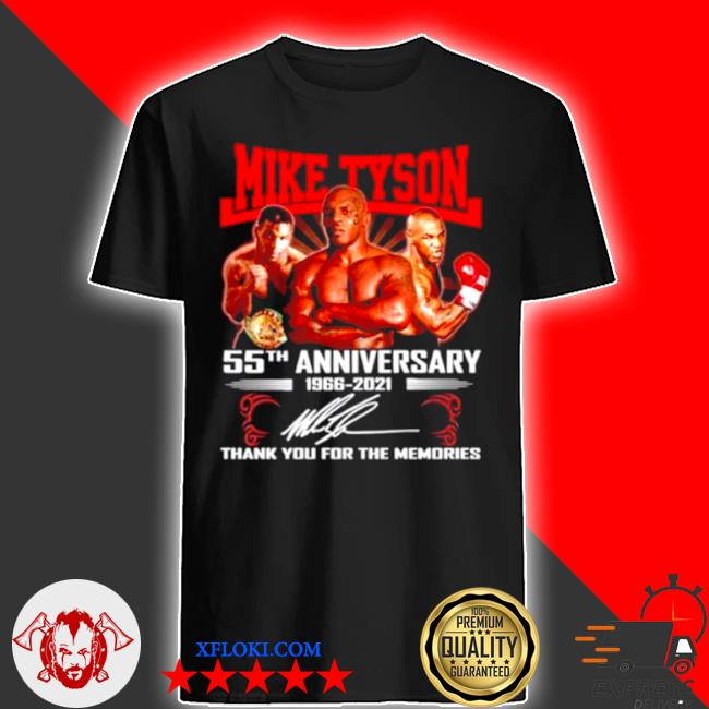 Mike tyson 55th 1966 2021 signature thank you for the memories shirt