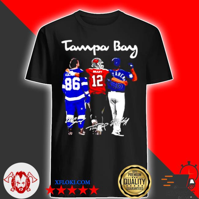 Tampa bay nikita kucherov Tom Brady and randy arozarena fiends signature shirt