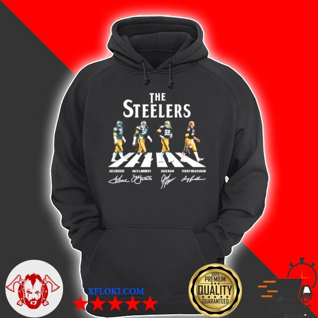 The Steelers Joe greene jack lambert jack ham and terry bradshaw abbey road 2021 signatures s hoodie